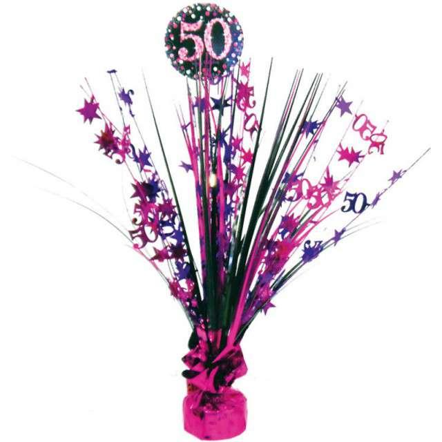 """Obciążnik do balonów """"Bukiet 50 urodziny"""", AMSCAN, różowo-czarny, 250 g"""