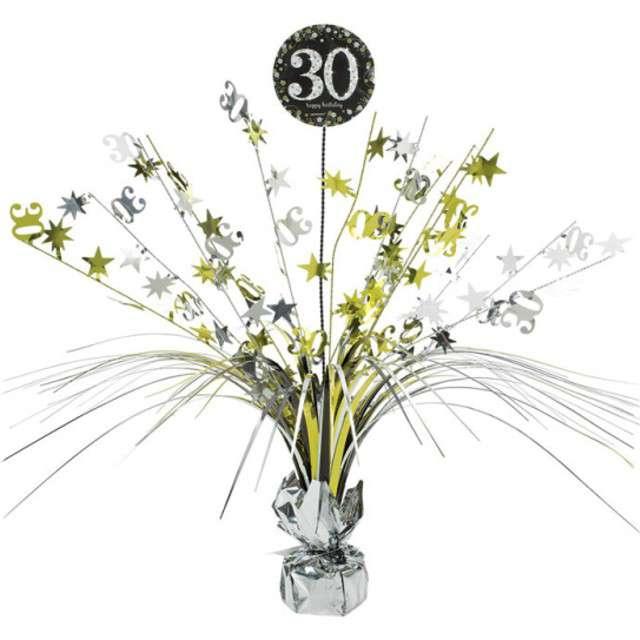 """Obciążnik do balonów """"Bukiet 30 urodziny"""", AMSCAN, srebrno-złoty, 250 g"""