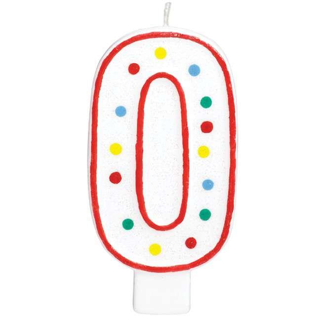 """Świeczka na tort """"Cyfra 0"""", AMSCAN, kropeczki, 9,5 cm"""
