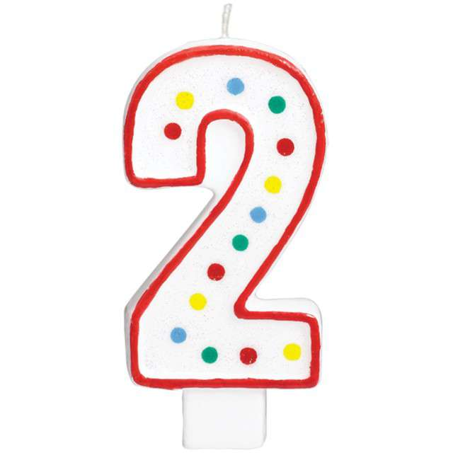 """Świeczka na tort """"Cyfra 2"""", AMSCAN, kropeczki, 9,5 cm"""