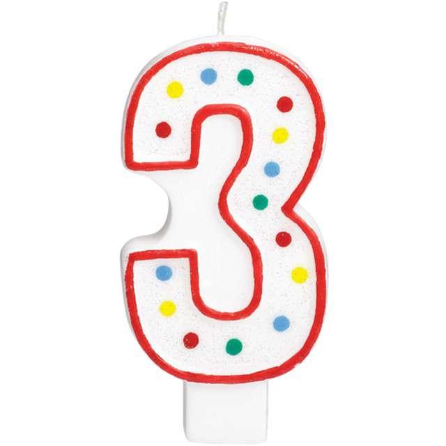 """Świeczka na tort """"Cyfra 3"""", AMSCAN, kropeczki, 9,5 cm"""