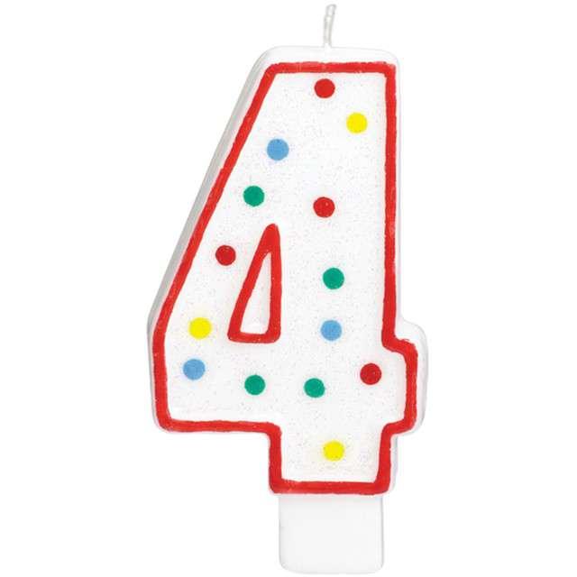 """Świeczka na tort """"Cyfra 4"""", AMSCAN, kropeczki, 9,5 cm"""