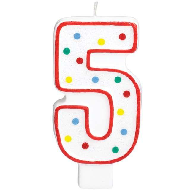 """Świeczka na tort """"Cyfra 5"""", AMSCAN, kropeczki, 9,5 cm"""