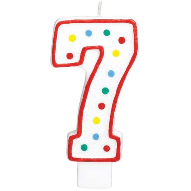 """Świeczka na tort """"Cyfra 7"""", AMSCAN, kropeczki, 9,5 cm"""