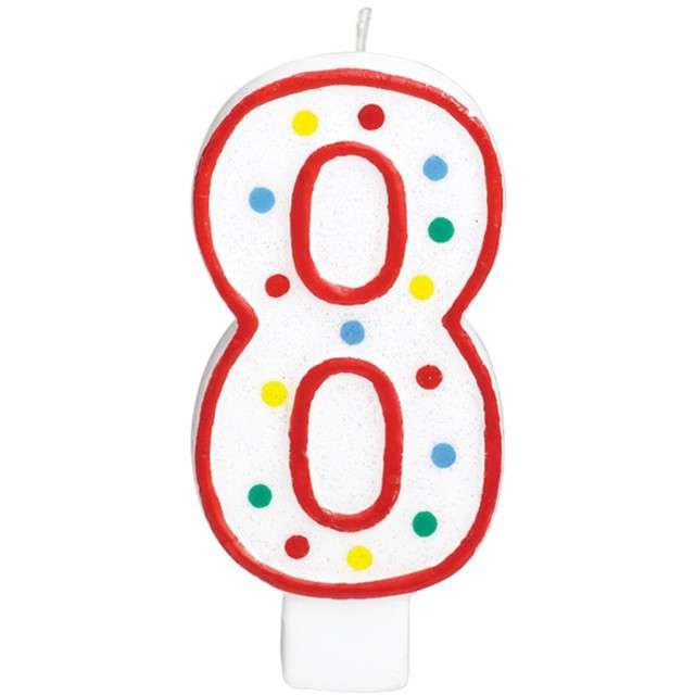 """Świeczka na tort """"Cyfra 8"""", AMSCAN, kropeczki, 9,5 cm"""