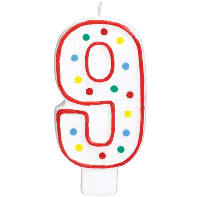 """Świeczka na tort """"Cyfra 9"""", AMSCAN, kropeczki, 9,5 cm"""