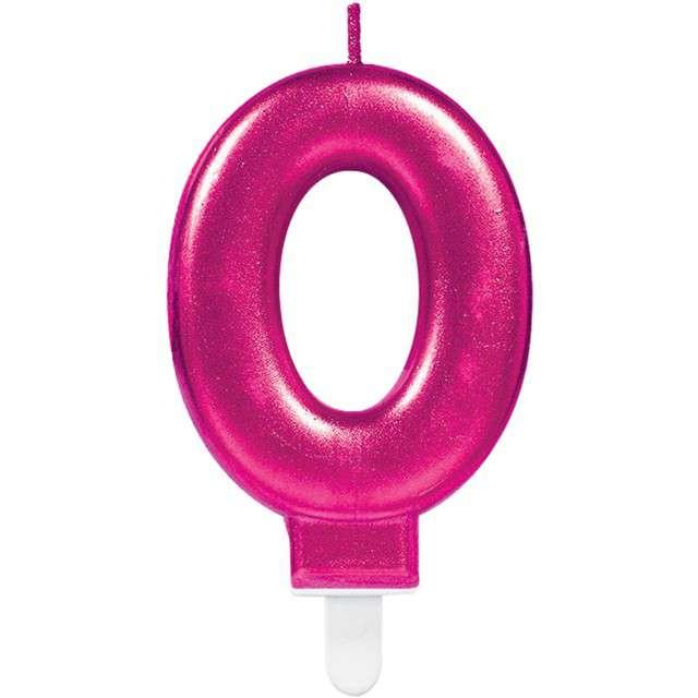 """Świeczka na tort """"Różowa cyfra 0"""", AMSCAN, sparkling celebration, 9 cm"""