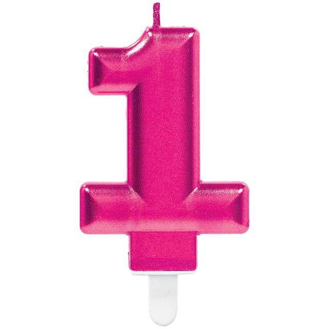"""Świeczka na tort """"Różowa cyfra 1"""", AMSCAN, sparkling celebration, 9 cm"""