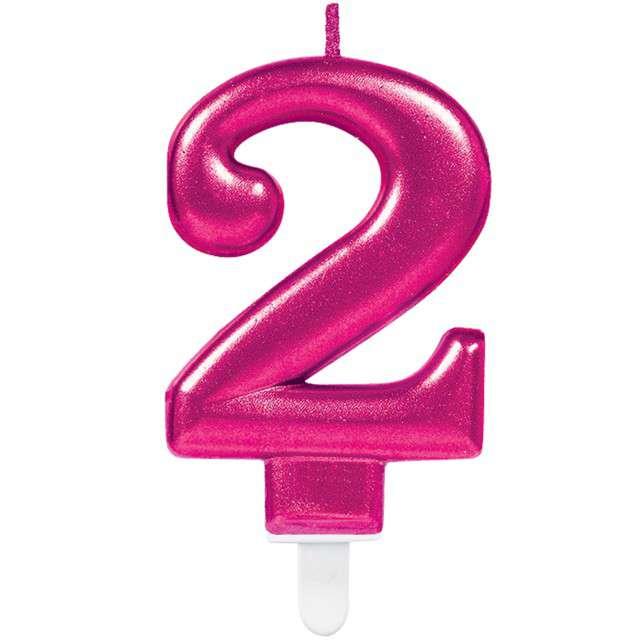 """Świeczka na tort """"Różowa cyfra 2"""", AMSCAN, sparkling celebration, 9 cm"""