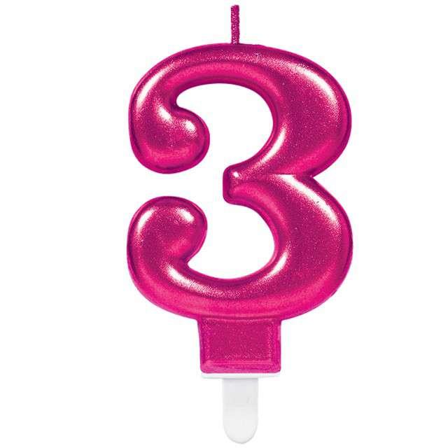 """Świeczka na tort """"Różowa cyfra 3"""", AMSCAN, sparkling celebration, 9 cm"""