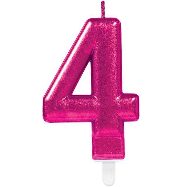 """Świeczka na tort """"Różowa cyfra 4"""", AMSCAN, sparkling celebration, 9 cm"""