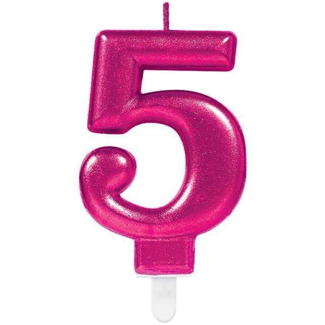 """Świeczka na tort """"Różowa cyfra 5"""", AMSCAN, sparkling celebration, 9 cm"""