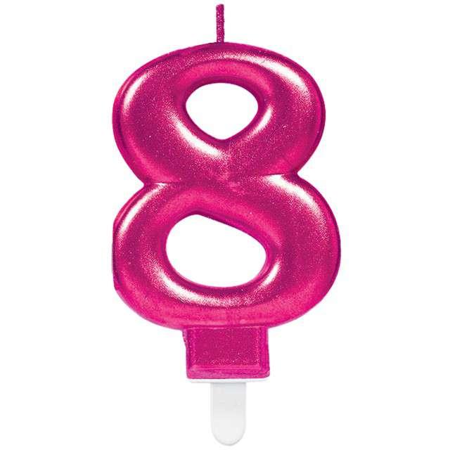 """Świeczka na tort """"Różowa cyfra 8"""", AMSCAN, sparkling celebration, 9 cm"""