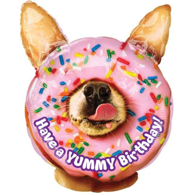 """Balon foliowy """"Yummy Birthday Piesek"""", AMSCAN, 18"""" SHP"""