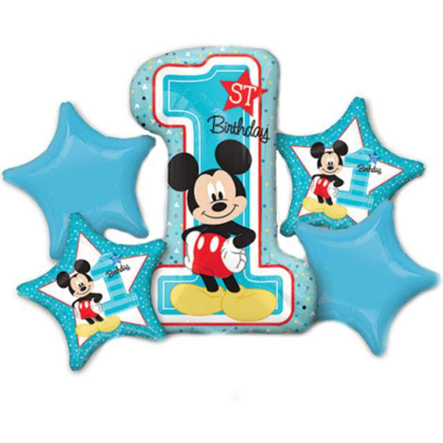 Balon foliowy 1 Urodziny - Myszka Mickey AMSCAN zestaw