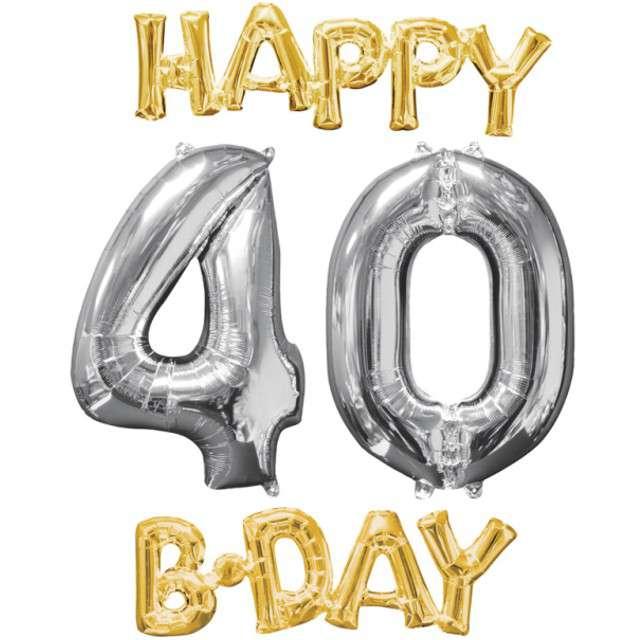"""Balon foliowy cyfra 4+0, """"Happy BDAY 40 Urodziny"""", 26"""", AMSCAN, srebrny/złoty"""