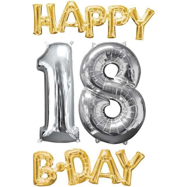 """Balon foliowy cyfra 1+8, """"Happy BDAY 18 Urodziny"""", 26"""", AMSCAN, srebrny/złoty"""