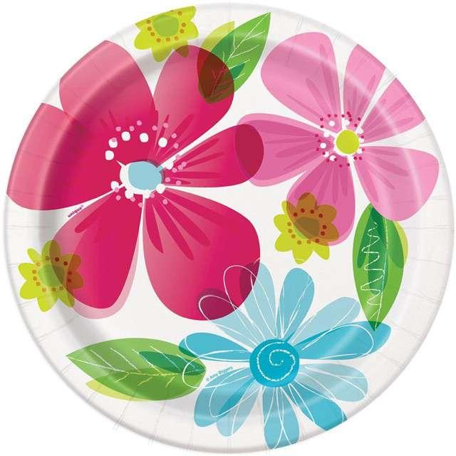 """Talerzyki papierowe """"Kolorowe Kwiaty"""", UNIQUE, 23 cm, 8 szt"""