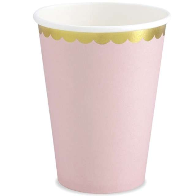 "Kubeczki papierowe ""Golden Border"", różowe, PartyDeco, 220 ml, 6 szt"