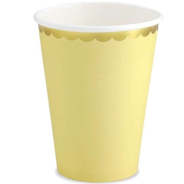 """Kubeczki papierowe """"Golden Border"""", żółty, PartyDeco, 220 ml, 6 szt"""