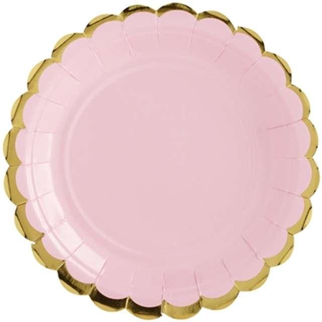 """Talerzyki papierowe """"Golden Border"""", różowe jasne, PartyDeco, 18 cm, 6 szt"""