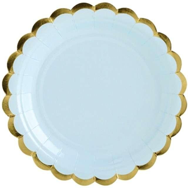 """Talerzyki papierowe """"Golden Border"""", niebieskie jasne, PartyDeco, 18 cm, 6 szt"""