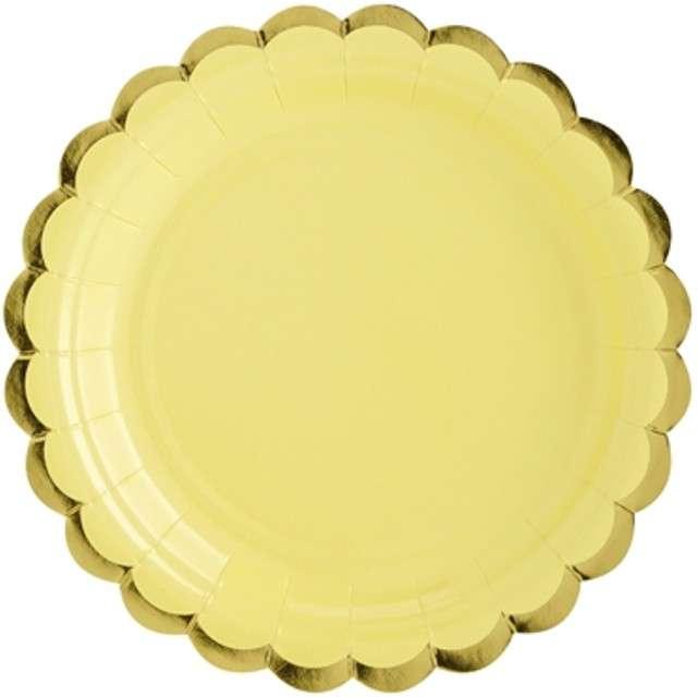 "Talerzyki papierowe ""Golden Border"", żółte, PartyDeco, 18 cm, 6 szt"