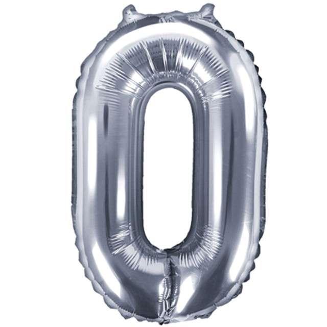 """Balon foliowy cyfra 0, 14"""", PartyDeco, srebny"""