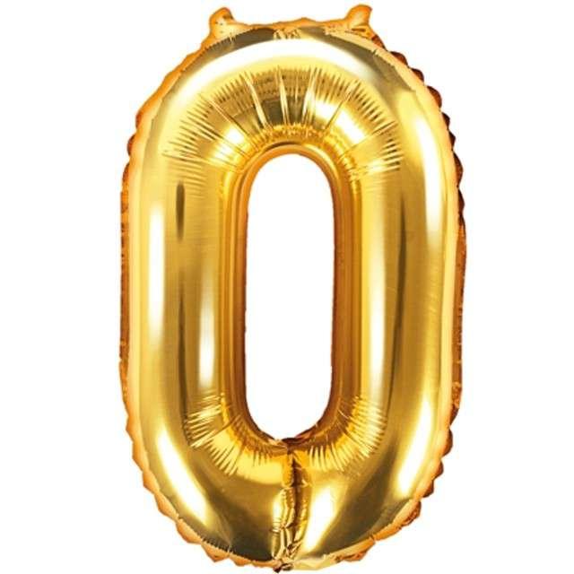 """Balon foliowy cyfra 0, 14"""", PartyDeco, złoty"""