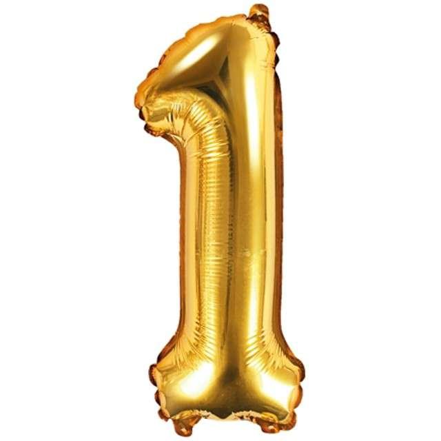 """Balon foliowy cyfra 1, 14"""", PartyDeco, złoty"""