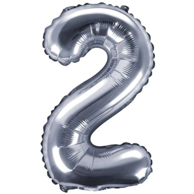 """Balon foliowy cyfra 2, 14"""", PartyDeco, srebny"""