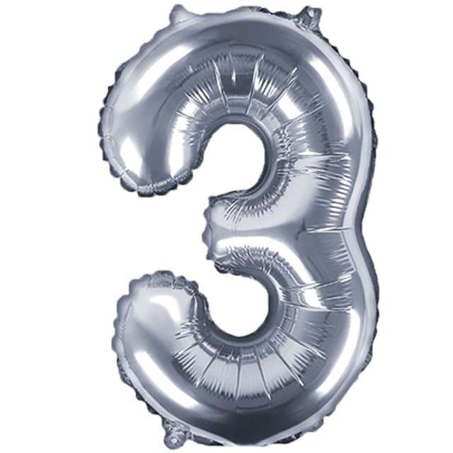 """Balon foliowy cyfra 3, 14"""", PartyDeco, srebny"""