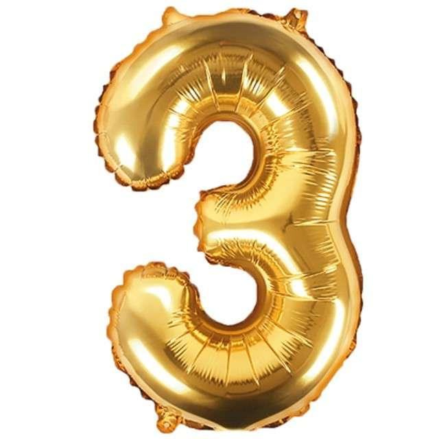 """Balon foliowy cyfra 3, 14"""", PartyDeco, złoty"""