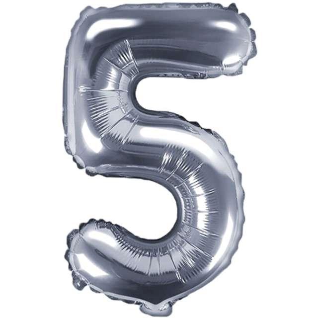 """Balon foliowy cyfra 5, 14"""", PartyDeco, srebny"""