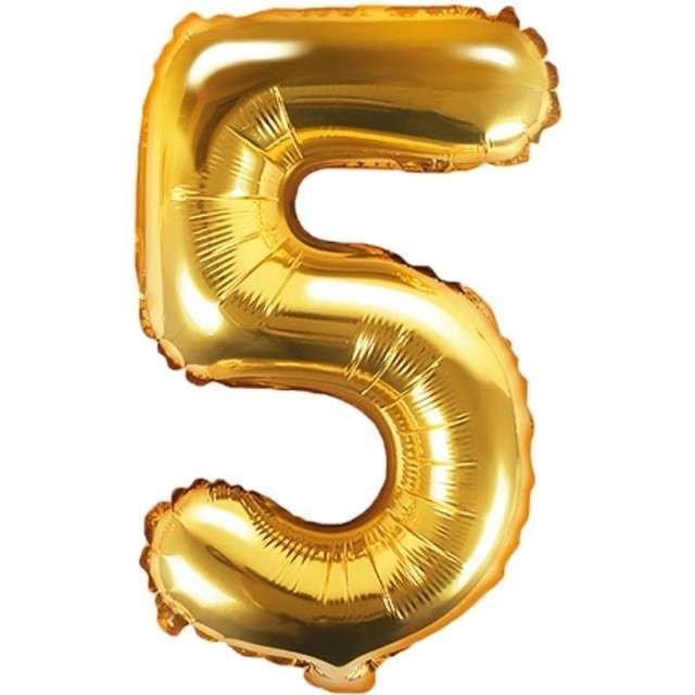 """Balon foliowy cyfra 5, 14"""", PartyDeco, złoty"""