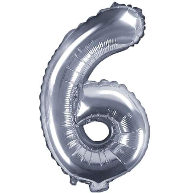 """Balon foliowy cyfra 6, 14"""", PartyDeco, srebny"""