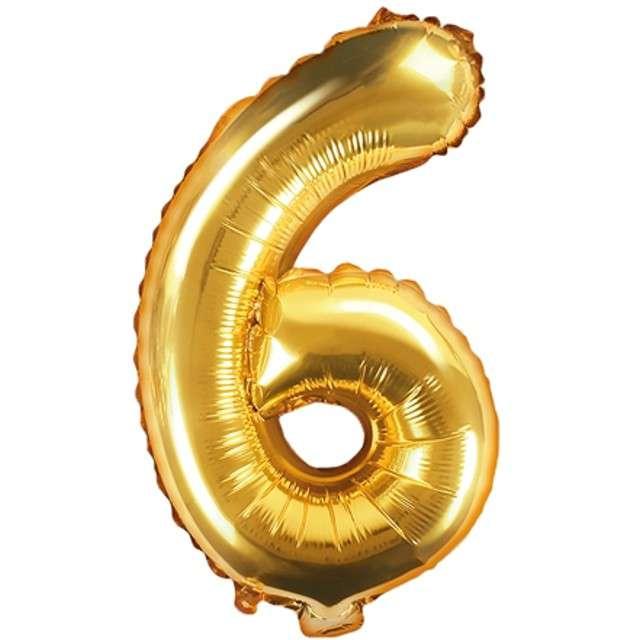 """Balon foliowy cyfra 6, 14"""", PartyDeco, złoty"""