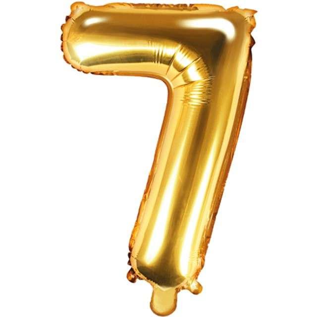 """Balon foliowy cyfra 7, 14"""", PartyDeco, złoty"""