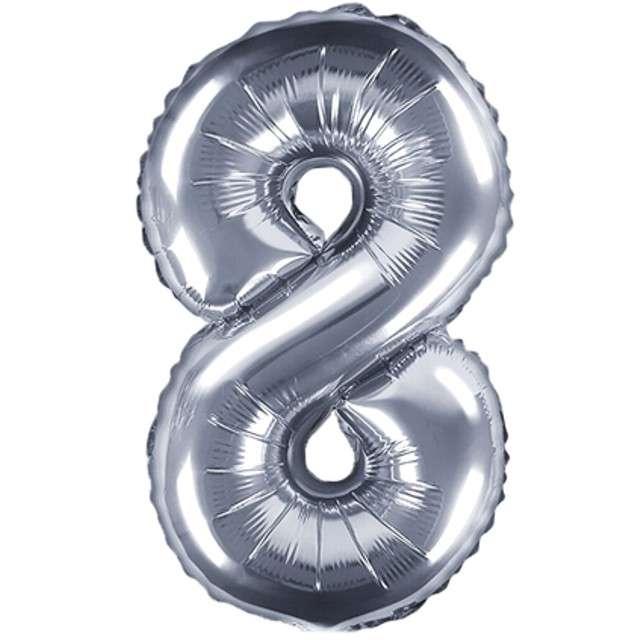 """Balon foliowy cyfra 8, 14"""", PartyDeco, srebny"""