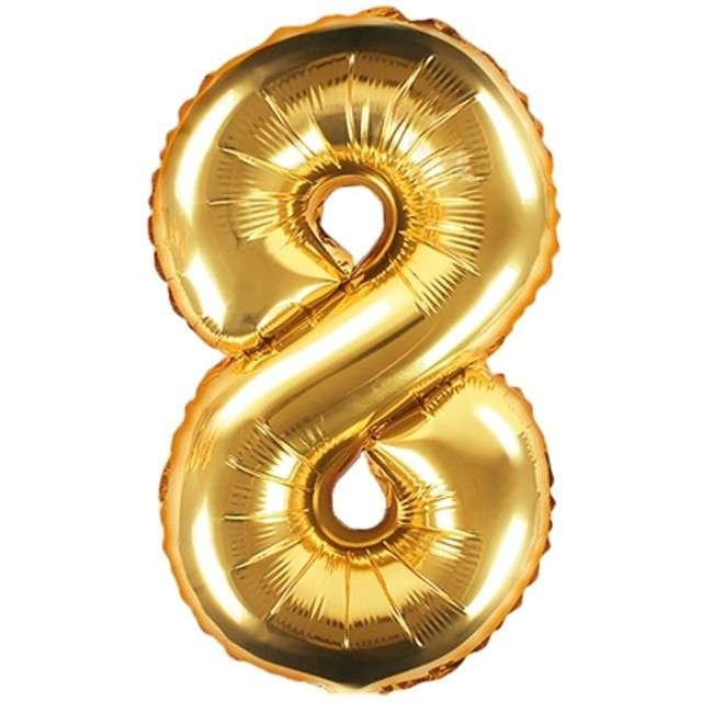 """Balon foliowy cyfra 8, 14"""", PartyDeco, złoty"""