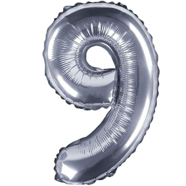 """Balon foliowy cyfra 9, 14"""", PartyDeco, srebny"""