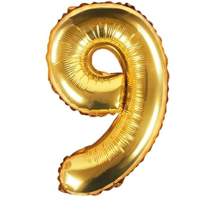 """Balon foliowy cyfra 9, 14"""", PartyDeco, złoty"""