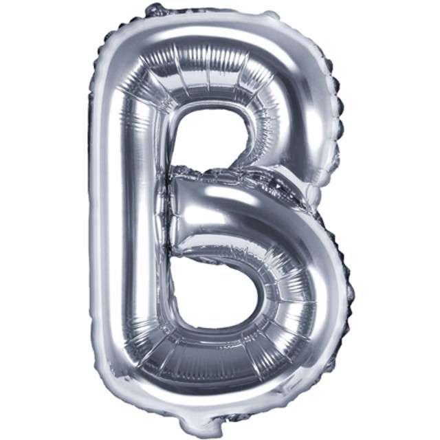 "Balon foliowy litera B, 14"", PartyDeco, srebrny"