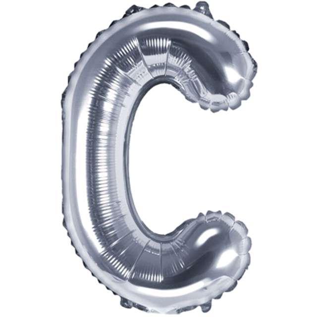 "Balon foliowy litera C, 14"", PartyDeco, srebrny"