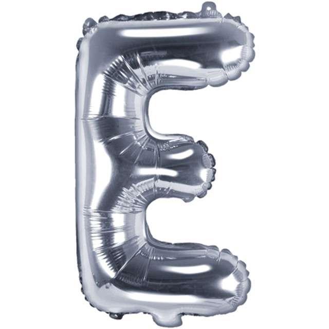 "Balon foliowy litera E, 14"", PartyDeco, srebrny"