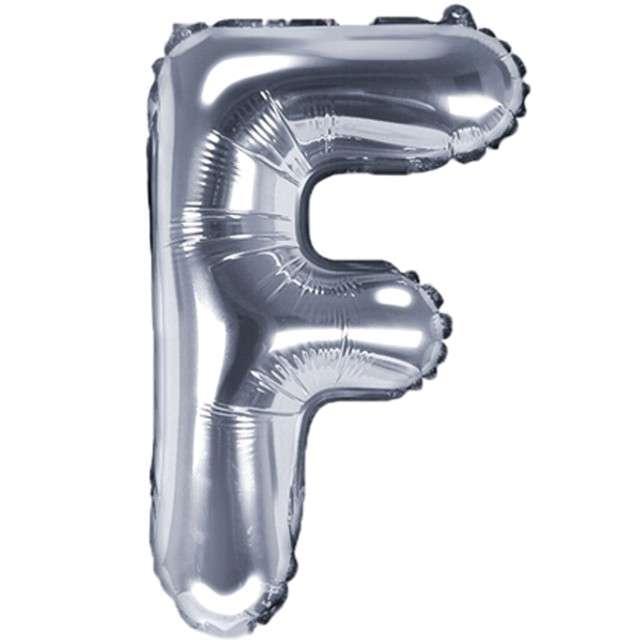 "Balon foliowy litera F, 14"", PartyDeco, srebrny"