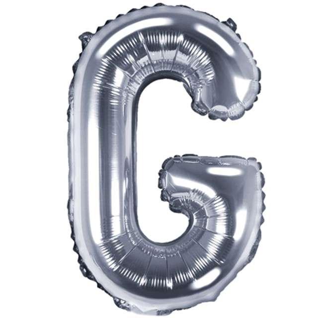 """Balon foliowy litera G, 14"""", PartyDeco, srebrny"""