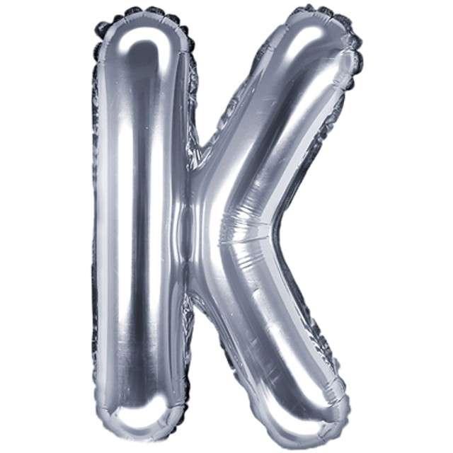 """Balon foliowy litera K, 14"""", PartyDeco, srebrny"""