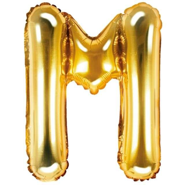 """Balon foliowy litera M, 14"""", PartyDeco, złoty"""