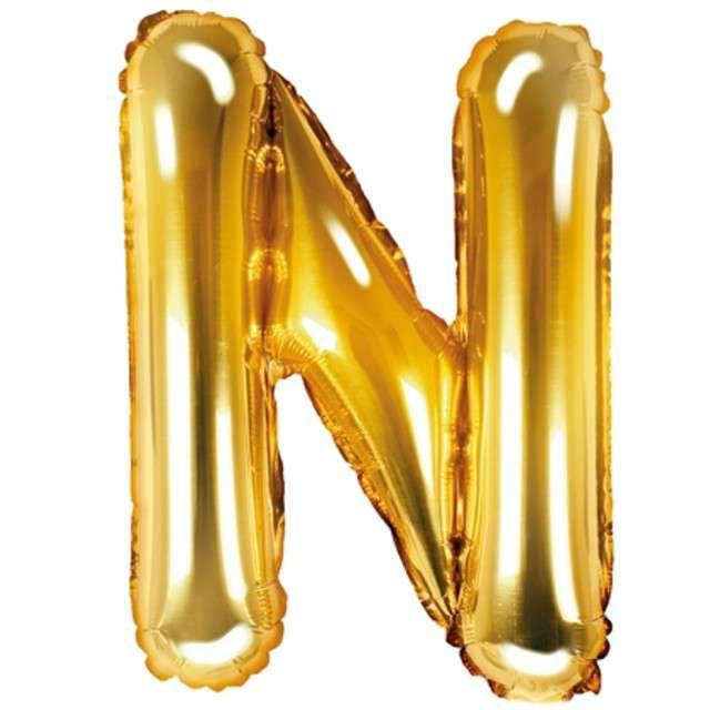 """Balon foliowy litera N, 14"""", PartyDeco, złoty"""